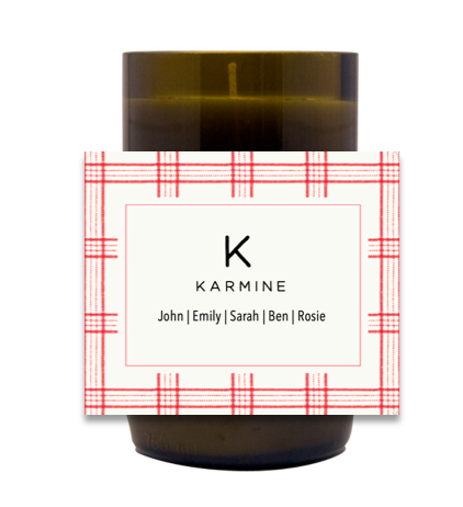 Checkered Family Name Hand Poured Soy Candle | Furbish & Fire Candle Co.