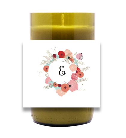 Floral Monogram Hand Poured Soy Candle | Furbish & Fire Candle Co.