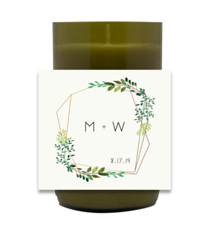 Geometric Greenery Hand Poured Soy Candle | Furbish & Fire Candle Co.