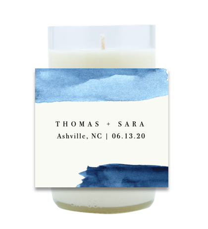Navy Watercolor Hand Poured Soy Candle | Furbish & Fire Candle Co.