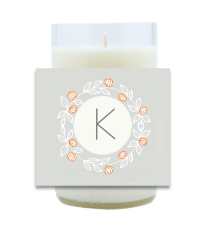 Wreath Monogram Hand Poured Soy Candle | Furbish & Fire Candle Co.