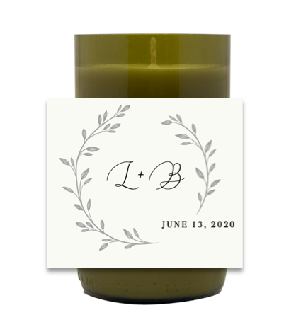 Whimsical Wedding Monogram Hand Poured Soy Candle | Furbish & Fire Candle Co.