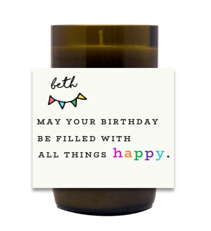 Ally Things Happy Hand Poured Soy Candle | Furbish & Fire Candle Co.