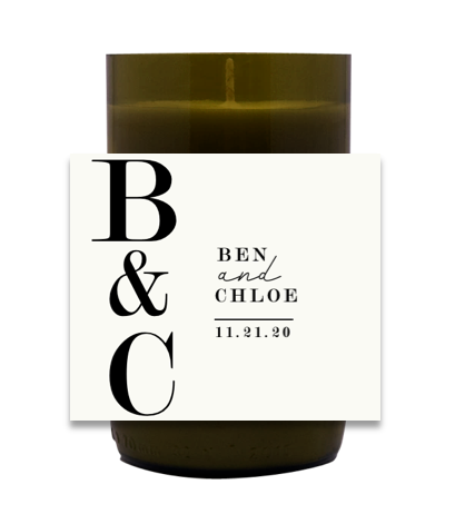 Bold Initial Wedding Hand Poured Soy Candle   Furbish & Fire Candle Co.