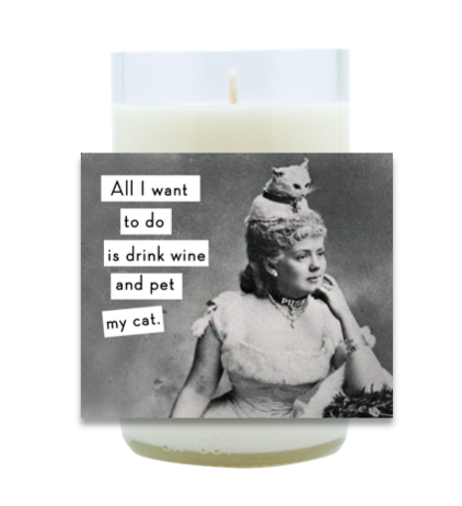 Wine and Cat Hand Poured Soy Candle | Furbish & Fire Candle Co.