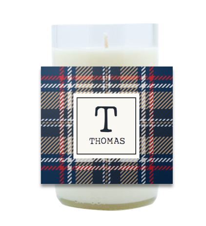 Plaid Monogram Hand Poured Soy Candle | Furbish & Fire Candle Co.