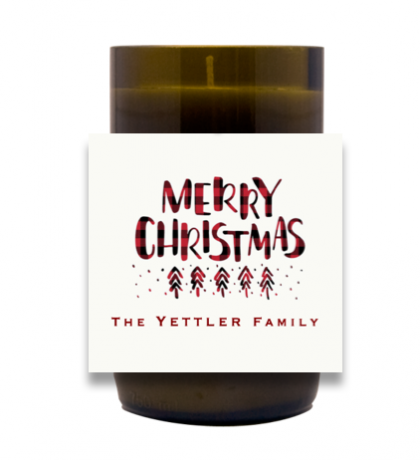 Plaid Holiday Message Hand Poured Soy Candle | Furbish & Fire Candle Co.
