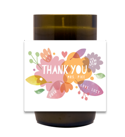 Floral Thank You Hand Poured Soy Candle | Furbish & Fire Candle Co.