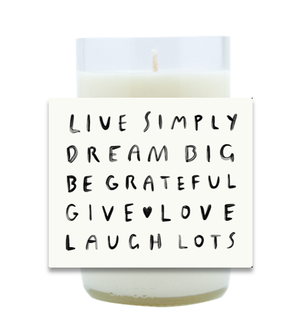 Live Simply Hand Poured Soy Candle | Furbish & Fire Candle Co.
